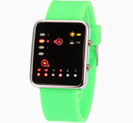 Unisex Binary Display LED Bright Color Silicone Band Wrist Watch (Assorted Colors)