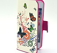 Flowers with Butterflies Pattern Hard Case with Card Slot and Matte PC Back Cover for iPhone 5/5S