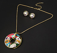 European Style Circular Multicolor Irregular Pattern  Gold Plated (Necklaces&Earrings) Jewelry Sets