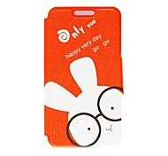 Kinston Glasses Rabbit Pattern PU Leather Cover for iPhone 6