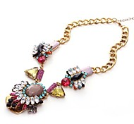 Europe America High Quality Vintage Chain Necklace Multicolor Crystal Luxury Lady Womens Statement Necklaces