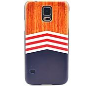 Couverture dure en bois de modèle de tapis d'impression pour Samsung Galaxy I9600 S5