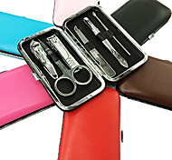 6PCS Nail Clippers Manicure Kits Within Pure Colour Manicure High Leather Bag(Random Color)