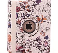 Curving Flower Vine Pattern 360 Degree Rotating PU Leather Case & Stand for iPad 2/3/4