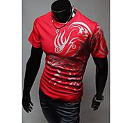 Em torno do pescoço de impressão étnico T-shirt Moda Masculina