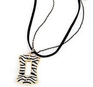 Zebra Hollow Rectangular Double-stranded Long Pendant Necklace