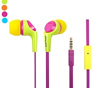 Fashion awei Q6I 3.5mm Plug In-Ear Aluminium Super Bass Microfoon koptelefoon-(Geel / / Blauw)
