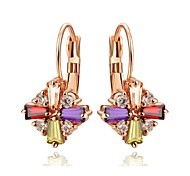 Colourful Crystal Cross Gemstone Jewelry 18K Rose Gold Plated Crystal Women's Drop Earrings
