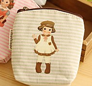 Doll Pattern Canvas Change Purse(Green)