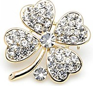 Fashion Clovers Alloy With Rhinestone Brooch