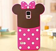 Lovely Pink Bowknot 3D Silikon-Telefon-Kasten für Samsung i9600 Galaxy S5