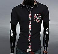 Shirt Hombres camiseta cuello simple hechizo color de la manera delgada de manga corta