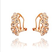 Gorgeous Fashion Jewelry Dold plated with Rhinestone Clip Earrings(one pair)