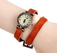 Women's Vintage Flower Engraved Long Leather Band Quartz Analog Bracelet Wrist Watch (Assorted Colors)