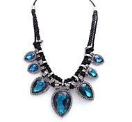 Europe America Night Party Style Exaggerated Necklaces Drop Sapphire Rhinestone Lady Short Necklace