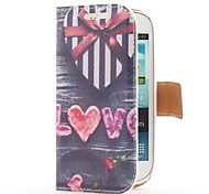 Heart Shape Gift Box Style Leather Case with Card Slot and Stand for Samsung Galaxy S3 Mini i8190