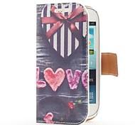 Heart Shape Gift Box Style leren tas met Card Slot en staan voor Samsung Galaxy S3 Mini i8190