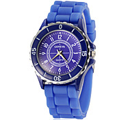 Women's Round Dial Silicone Band Quartz Analog Wrist Watch (Assorted Colors)