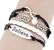 Fashion 17cm Women's BlackAndWhite Leather Wrap Bracelet(Believe)(1 Pc)