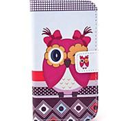 Hermosa cubierta de cuero Mujer Owl Patrón PU con el soporte y la ranura para tarjeta para Motorola MOTO X