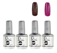 4PCS CH Silver Bottle Soak-off UV Gel Set Top Coat+Base Gel+2 UV Color Builder Gel(No.53-54,15ml)