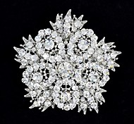 6.3cm Rhinestone and Alloy Dense Big Flower Leaves Brooch Pin for Woman Party Jewelry