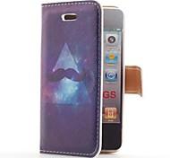 Moustache et Galaxy style Flip Case en cuir avec le stand et le logement pour carte pour l'iPhone 4/4S