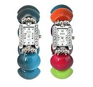 Women's Rectangle Case Turtle Shell Plastic Band Quartz Bracelet Watch