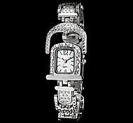 Women's Window Shape Rectangle Dial Steel Band Quartz Luxury Watch (Assorted Color)