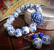 National Wind Blue And White Porcelain Jewelry Set (Including Bracelet, Earring)