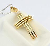Mode für Männer Gold / Silber / Gold Farbe mehrschichtige Quer Titan Stahl Halskette Schmuck