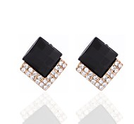 Black Alloy Diamond Earrings
