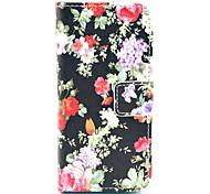 Housse en cuir motif de Full Body Blace fleur de Rose avec porte-cartes pour l'iPhone 5C