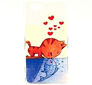Eat Swimming Fish Cat Pattern Hard Case for Sony Xperia Z1 Mini