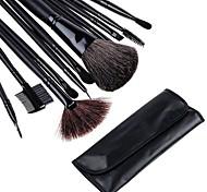 12 PCS de maquillage Make Up Make-up Pinceaux Set avec étui en cuir noir 3070