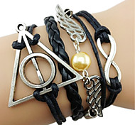 Angel Wings Harry Porter Infinity Multi-Layer  Handmade Leather Rope Bracelet Jewelry