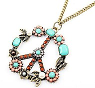 LUCKY Antiwar Flowers Pendant Necklace Sweater Chain