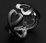Alliage d'argent d'anneaux de l'Énoncé de femmes de mode creusent coeur (1 PC)