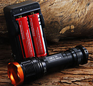 1set 1800LM Tactical Zoomable CREE XM-L T6 LED 18650 Flashlight Torch Zoom Lamp Light + 2 x 18650 Battery + Charger