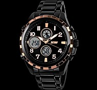 Men's Military Style Dual Time Zones Hard Steel Band Wrist Watch (Assorted Colors) Cool Watch Unique Watch