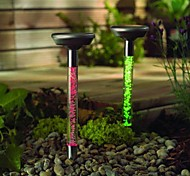 Set of 2 Color Changing Solar Stainless Steel Crystal Stake Light Garden Path Lighting