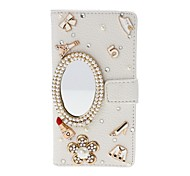 DIY Mirror Cosmetics with Rhinestone/Pearl Pattern Litchi Texture Leather Case with Stand for Sony Xperia M