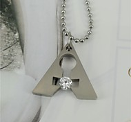 Fashion Women's A CZ Rhinestone 316L Stainless Steel Pendant Necklace
