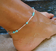 shixin® europeu contas feitas à mão mulheres liga tornozeleiras (10 cm * 8 centímetros * 2cm) (ouro, prata) (1 pc)