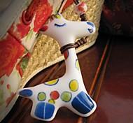DIY Cartoon Painting Giraffe Ceramic Necklace