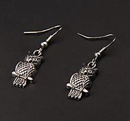 Cute Owl Silber-Legierung Ohrringe (1 Paar)