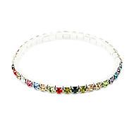 Fashion 5.2Cm Women'S Silver Alloy Tennis Bracelet(White,Multicolor)(1 Pc)