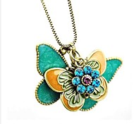 Vintage Flying Butterfly Long Pendant Necklace