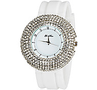 Women's Rhinestone Case White Silicone Band Quartz Wrist Watches
