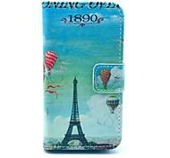 Balão Torre Eiffel Padrão PU Leather Case Full Body com slot para cartão para o iPhone 4/4S